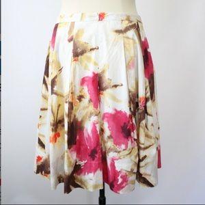 Talbots floral pleated cream midi skirt size 16
